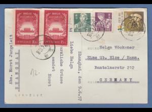 VR China, 1957, Sondermarken Tor des himml. Friedens ect. auf Postkarte nach D
