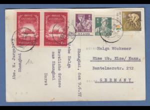 VR China 1957, Sondermarken Tor des himml. Friedens u.a. auf Postkarte nach D