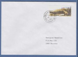 Zypern Amiel-ATM 1999, Mi-Nr. 2 seltenere Auflage A Wert 0,11 auf adress. FDC