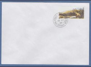 Zypern Amiel-ATM 1999, Mi-Nr. 2 seltenere Auflage A Wert 0,11 auf blanco-FDC
