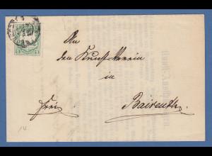Bayern Wappen 1 Kr. grün Mi.-Nr. 14 auf Brief von Regensburg nach Bayreuth 1869