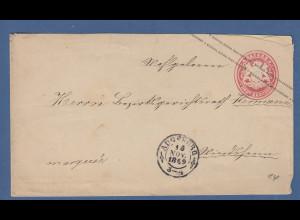 Bayern Ganzsache Wappen im Oval 3 Kr. gel. von Augsburg nach Windsheim