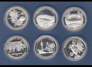 Lot 6 Stück Silber-Medaillen Fussball-Europameisterschaft in Deutschland 1988