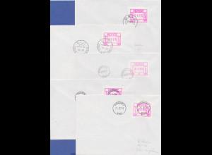 Norwegen Frama-ATM 1978, je ein Brief mit ATM 0125 von allen 5 Automaten 1-5