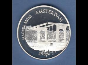 Frankreich 1996 Silbermünze 100 Fr. Magere Brug Amsterdam 22,2g Ag900