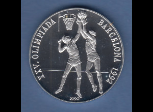 Cuba / Kuba Silbermünze Olympische Spiele 1992 Barcelona 10 Pesos Basketball