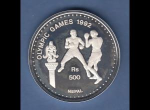 Nepal Silbermünze Olympische Spiele 1992 in Barcelona 500 Rs, Boxen