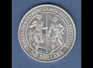 Cook Islands Silbermünze 1989 50 Dollar Olympische Spiele 1992