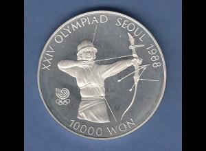 Silbermünze Olympiade 1988 Korea Bogenschiessen 10000 Won in PP 33,62g Ag925