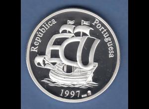 Portugal 1997 Silbermünze EU-Beitrittserklärung Caravelle PP