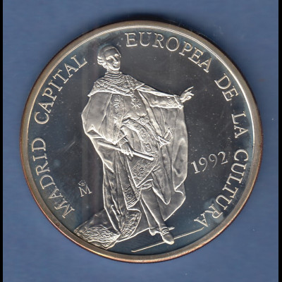 Spanien 1992 Silbermünze 5 Ecu Madrid Kulturhauptstadt Europas 33,6g Ag925