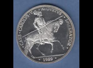 Spanien 1989 Silbermünze 5 Ecu Karl V. mit Lanze auf Pferd sitzend PP