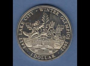 Cook Islands Olympische Winterspiele Salt Lake City 2002 1 Dollar Kapitol