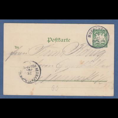 Bayern Privatganzsache Kraftmaschinen-Ausstellung 1898 München