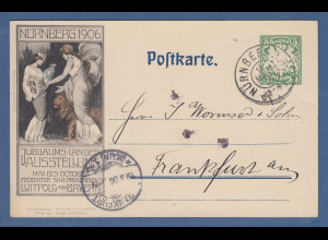 Bayern Privat-GA Jubiläums-Ausstellung Nürnberg 1906 gel. nach Frankfurt