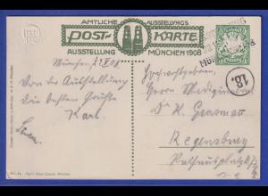 Bayern Privat-Ganzsache Kunst-Ausstellung München 1908 mit Sonderstempel