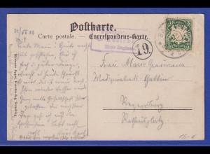 Bayern AK Kostenz mit Stempel Posthilfsstelle Kostenz 1908 gel. nach Regensburg