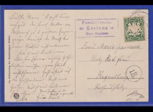 Bayern AK Kostenz mit Stempel Posthilfsstelle Kostenz 1908 gelaufen Regensburg