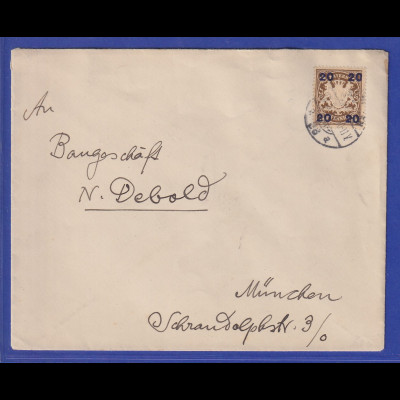 Bayern Mi.-Nr. 177 als EF auf Brief nach München