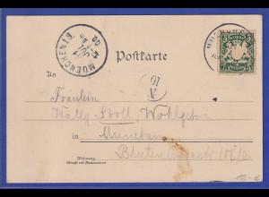 Bayern Mi.-Nr. 61 auf Postkarte, Motiv Sonnenuntergang auf der Zugspitze