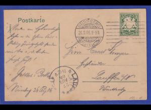 Bayern Mi.-Nr. 61 auf Postkarte mit Sonder-O NÜRNBERG AUSSTELLUNG 1906