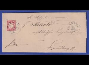 Bayern Wappen 10Pfg Mi.-Nr. 49 als EF auf Brief von Kuhrach nach Landsberg
