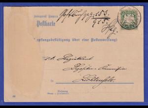 Bayern Wappen 5Pfg Mi.-Nr. 61 als EF auf PA-Empfangsbestätigung, O Burgkundstadt