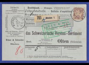 Bayern 80Pfg Wappen Mi.-Nr. 68y auf Paketkarte von München in die Schweiz