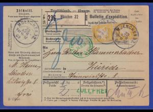 Bayern 40Pfg Wappen Mi.-Nr. 67y als MEF auf Paketkarte aus München nach Zürich