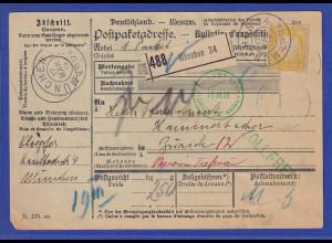 Bayern 40Pfg Wappen Mi.-Nr. 67y als EF auf Paketkarte aus München nach Zürich