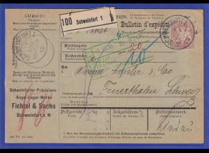 Bayern 80Pfg Wappen Mi.-Nr. 68y als EF auf Paketkarte aus Schweinfurt nach CH