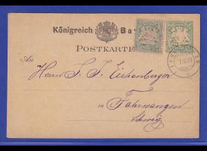 Bayern Wappen 5 Pfennig Mi.-Nr. 38 als ZUF auf Postkarte in die Schweiz , 1879