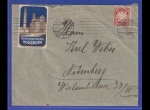 Bayern Brief von Augsburg nach Nürnberg, 1910, mit Augsburger Werbe-Vignette