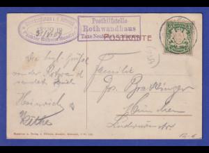 Bayern Wappen 5Pfg. Mi.-Nr. 61 auf AK mit Stempel Posthilfsstelle Rothwandhaus