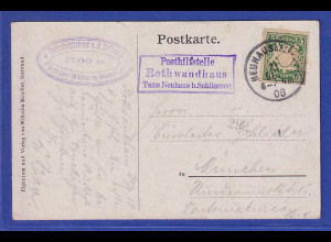 Bayern Wappen 5Pfg. Mi.-Nr. 61 auf AK mit Posthilfsstelle-Stempel Rothwandhaus