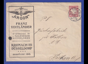 """Bayern Privat-Ganzsachen Umschlag """"ARGON"""" 1908 gel. von Kronach nach Köthen"""
