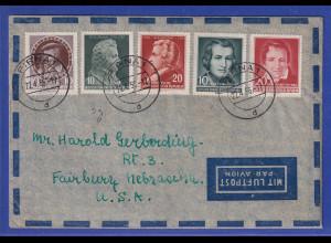 DDR 1956 schöner Brief gelaufen von Pirna nach Fairbury Nebraska USA