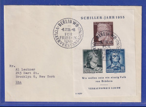 DDR 1955 Schiller-Block mit PLF auf Brief mit So.-O Berlin adressiert in die USA