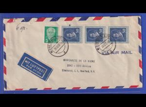 DDR 1952 Luftpostbrief gelaufen von Dresden nach New York / USA
