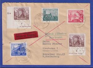 DDR 1953 Eil-Brief gel. von RADEBEUL nach Wiesbaden Mi.-Nr. 358-61 kpl. Satz