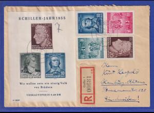 DDR 1955 Schiller-Block mit PLF IV auf R-Brief aus Gotha nach Hamburg