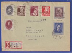 DDR 1952 R-Brief aus TREFFURT gelaufen nach Marstrand / Schweden