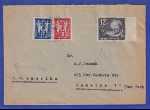 DDR 1949 Mi.-Nr. 243-44 und 245 auf Auslandsbrief in die USA