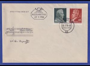 DDR 1956 Wolfgang Amadeus Mozart Mi.-Nr. 510-511 auf offiz. Ersttagsbrief / FDC