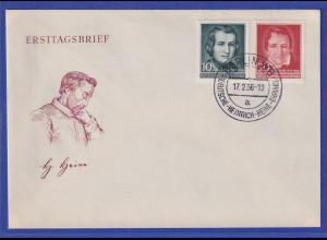 DDR 1956 Heinrich Heine Mi.-Nr. 516-517 auf offiz. Ersttagsbrief / FDC
