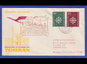 Bund 1956 Kirchentag 10 und 20Pfg Mi-Nr. 235-36 auf LH-Erstflugbrief in den Iran