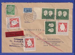 Bund 1954 Eilbrief von Traunstein nach Bad Reichenhall, Sondermarken-Frankatur