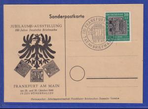Bund 1949 100 Jahre Briefmarken Mi-Nr. 113 mit Sonder-O Frankfurt auf Postkarte