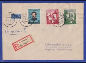 Bund 1953 R-Brief aus Augsburg mit Mi.-Nr. 153-54 und 155