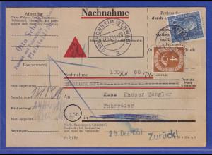 Bund 1951 Röntgen Mi.-Nr. 147 in MIF auf Nachnahme-Karte aus Pleinfeld